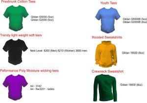 popular custom t-shirt styles