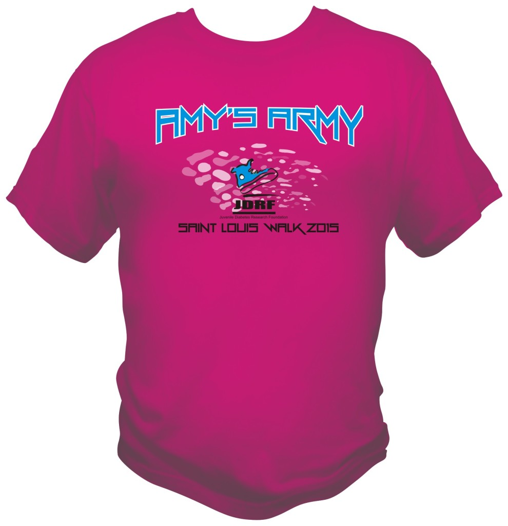 Custom JDRF printed t-shirts