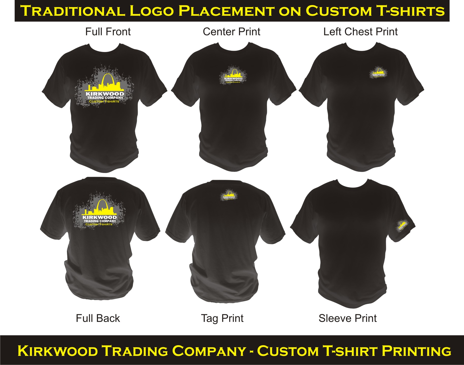 Logo Placement guide for custom t-shirts - St. Louis