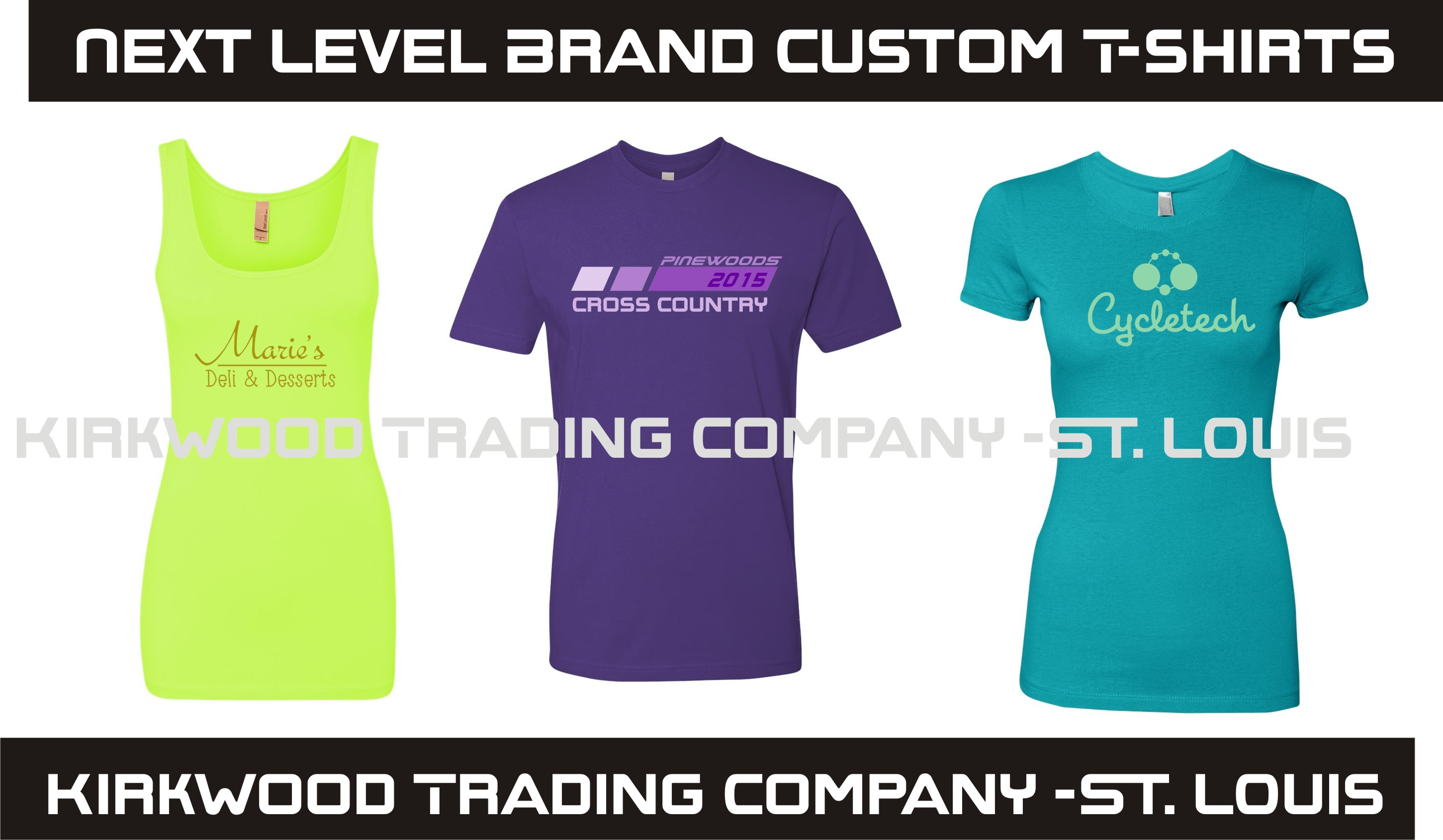 Custom printed next level t shirts kirkwood trading for Custom t shirt company
