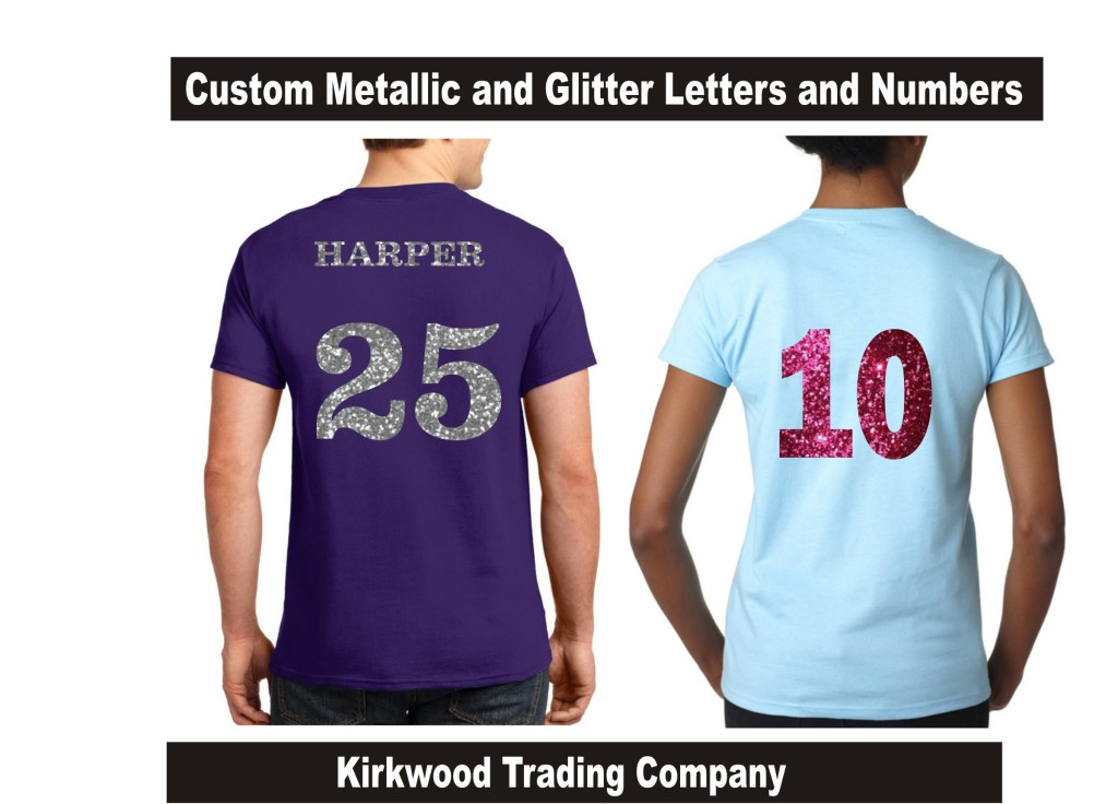 Custom Glitter Jersey Numbers Kirkwood Trading Company