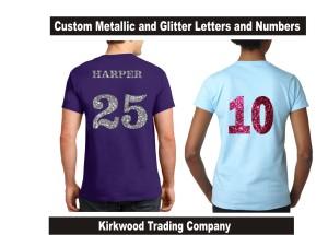 Custom Glitter Jersey Numbers Kirkwood Trading Company
