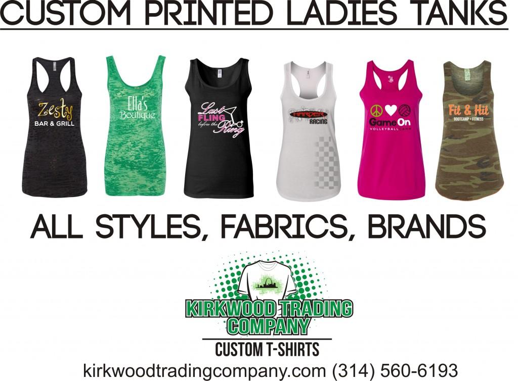 Custom printed ladies tank tops in St. Louis