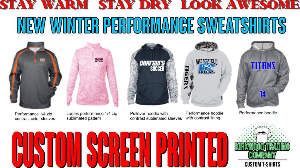custom screen print performance hoodies