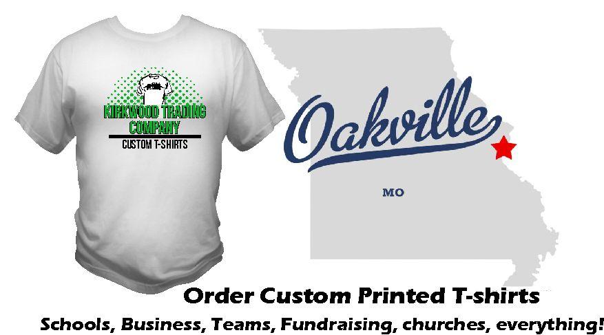Custom tshirts in oakville missouri kirkwood trading company for Custom screen printed shirts no minimum