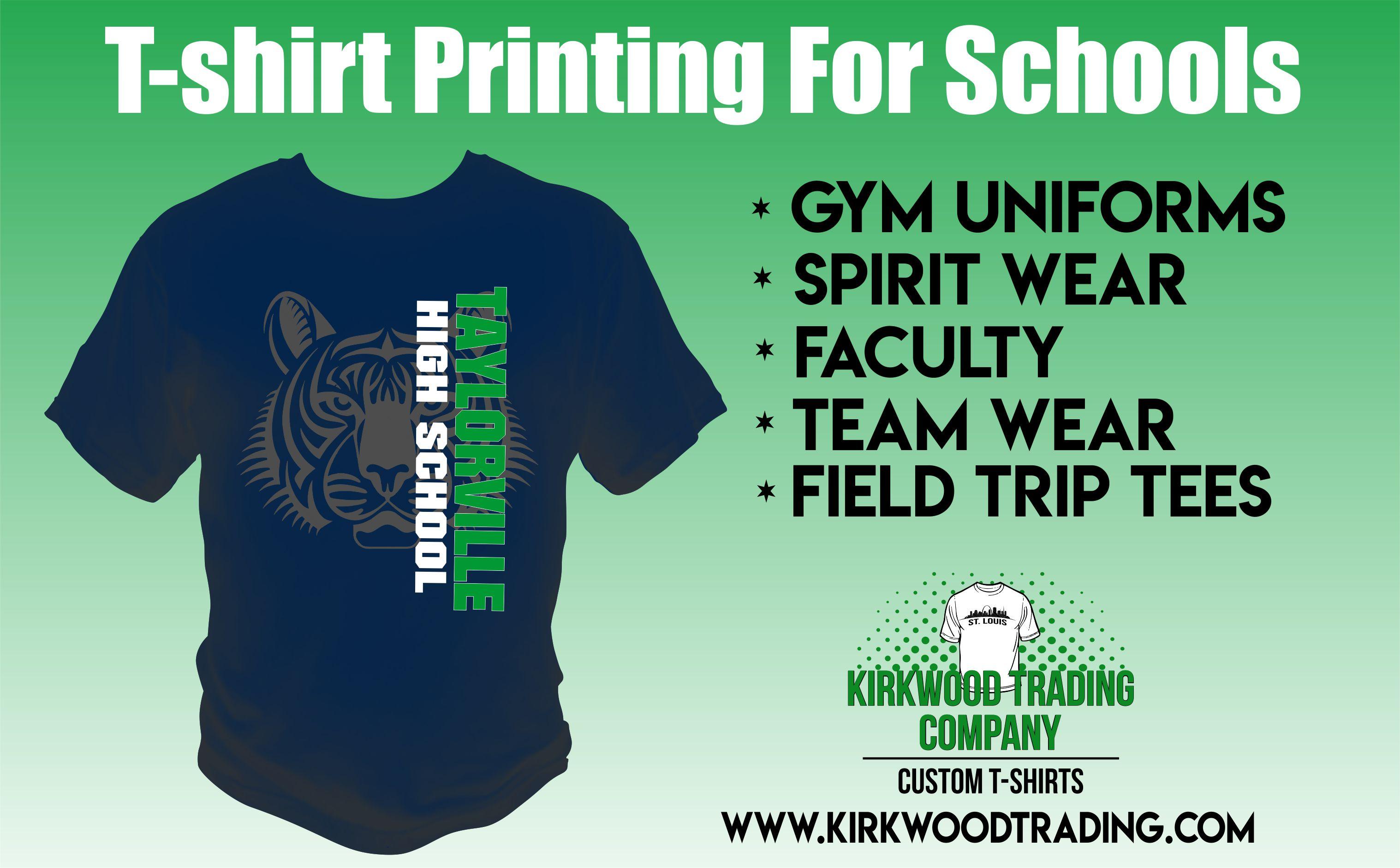 T shirt printing for schools kirkwood trading company for Company t shirt printing