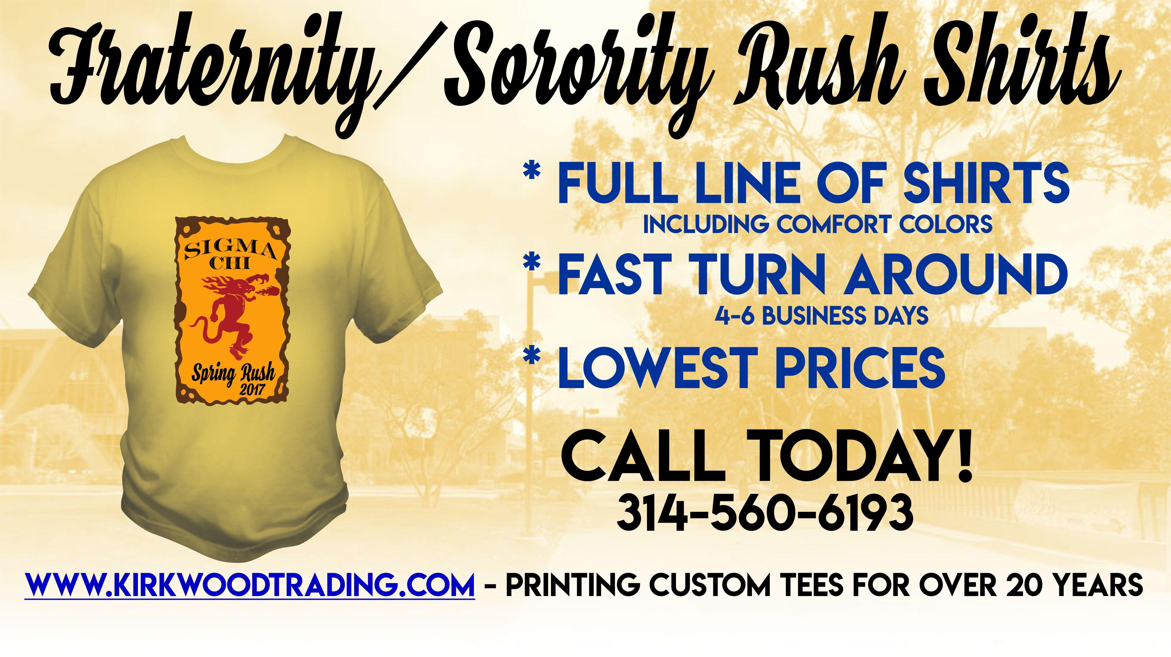 Fraternity Sorority Custom Rush Shirts