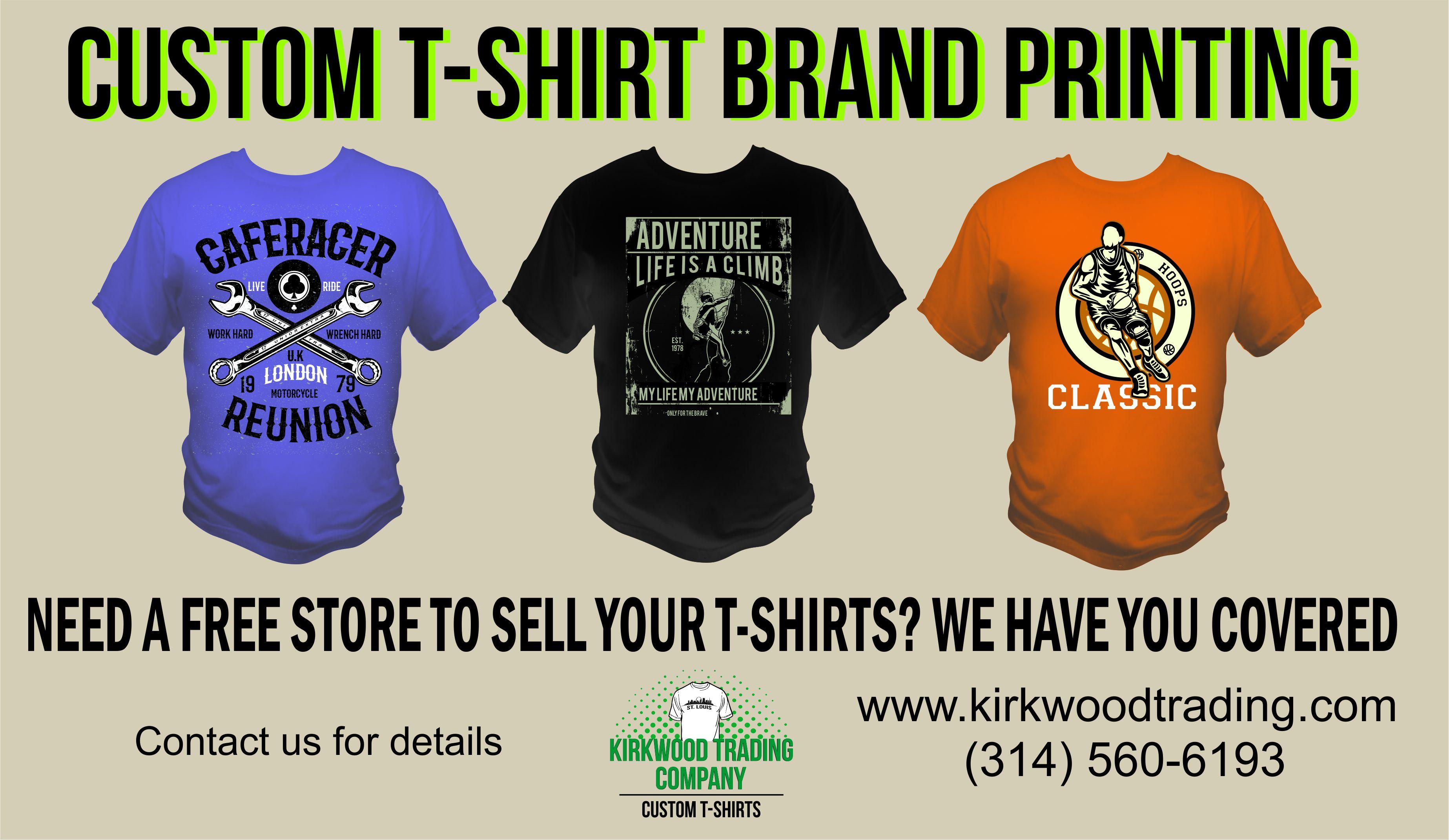 Custom t shirt brand printing company kirkwood trading for Companies that make custom shirts