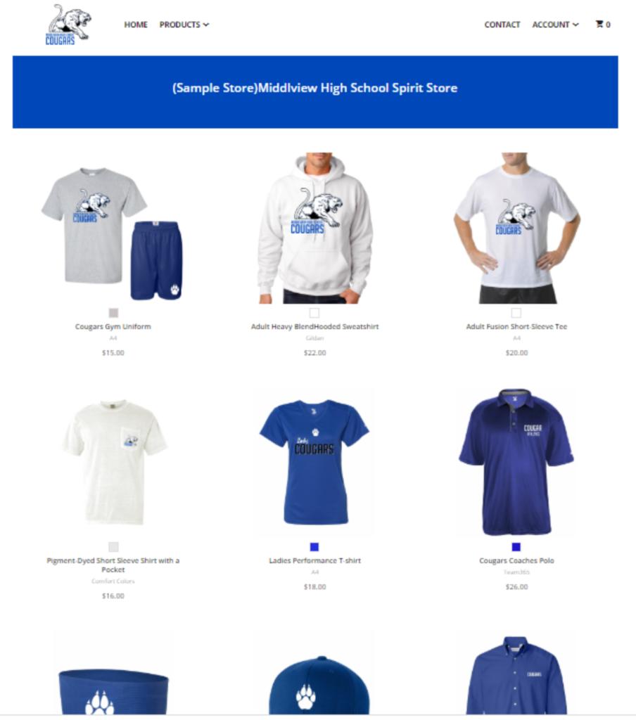 screenshot of custom online spirit wear store